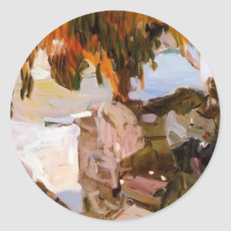 Joaquín Sorolla- Ibiza house Round Sticker