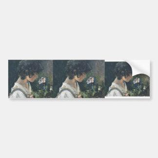 Joaquín Sorolla- Italian Girl with Flowers Bumper Sticker