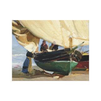 Joaquin Sorolla - Pescadores. Barcas varadas Canvas Print