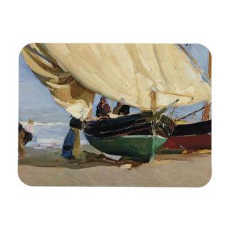 Joaquin Sorolla - Pescadores. Barcas varadas Rectangular Photo Magnet