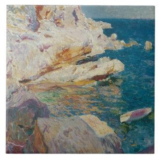 Joaquin Sorolla-Rocks of Javea and the White Boat Tile