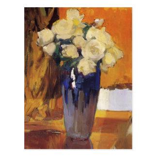 Joaquín Sorolla- White Roses from the House Garden Postcard