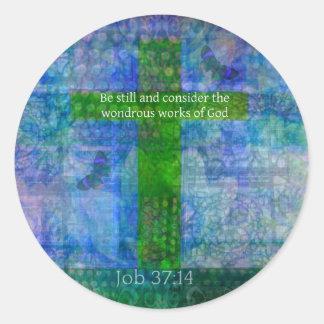 Job 37:14 Beautiful Bible Verse Classic Round Sticker