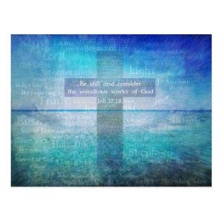 Job 37:14 Bible Verse Post Cards
