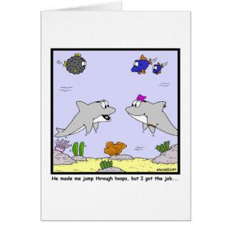 Job Interview: Dolphin cartoon Card