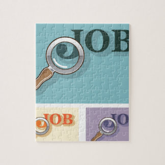 Job search under magnifying glass Vector illustrat Puzzles