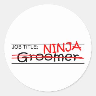 Job Title Ninja - Groomer Round Sticker