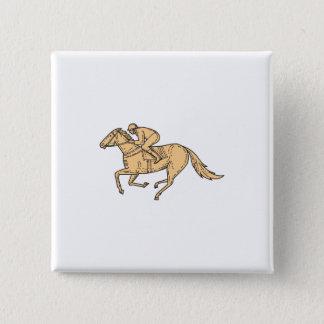 Jockey Horse Racing Side Mono Line 2 Inch Square Button