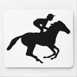 Jockey Riding Race Horse Silhouette Mouse Pad
