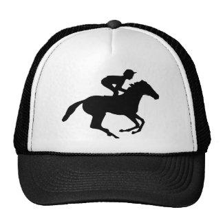 Jockey Riding Race Horse Silhouette Trucker Hat