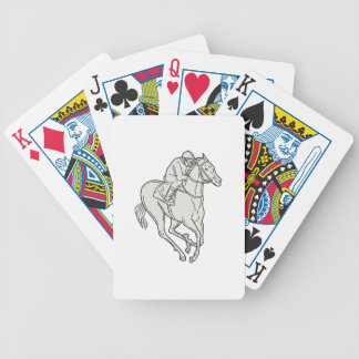Jockey Riding Thoroughbred Horse Mono Line Bicycle Playing Cards