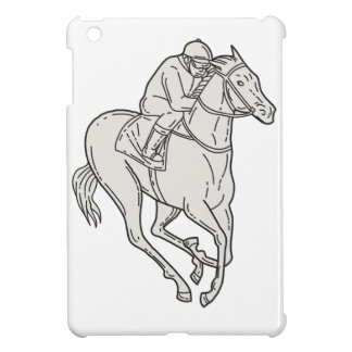 Jockey Riding Thoroughbred Horse Mono Line iPad Mini Case