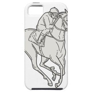 Jockey Riding Thoroughbred Horse Mono Line iPhone 5 Cases