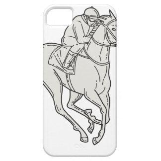 Jockey Riding Thoroughbred Horse Mono Line iPhone 5 Covers