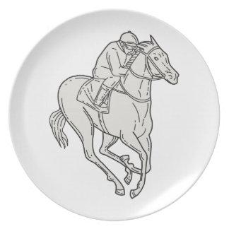 Jockey Riding Thoroughbred Horse Mono Line Plates