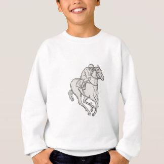 Jockey Riding Thoroughbred Horse Mono Line Sweatshirt