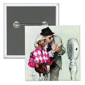 Jockey Weighing In by Norman Rockwell 2 Inch Square Button