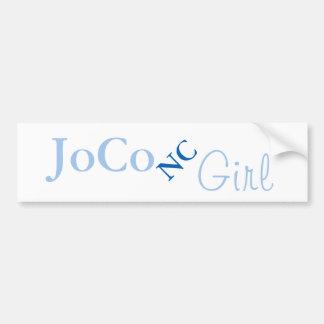JoCo NC Girl on white Bumper Sticker