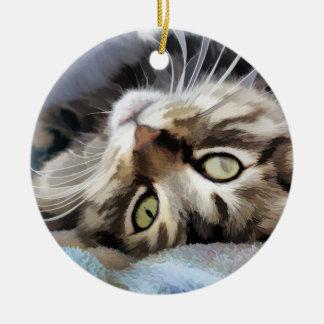 Jody Tabby Cat Round Ceramic Ornament