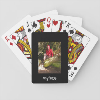 Jody with red sweater myface playing cards