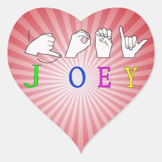 JOEY  NAME SIGN ASL FINGERSPELLED HEART STICKER