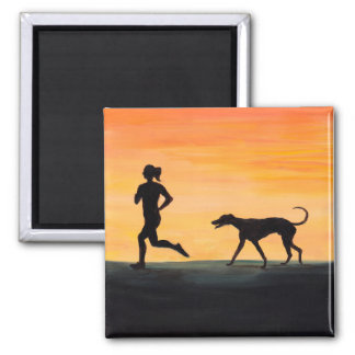 Jogger Greyhound Silhouette Art Magnet