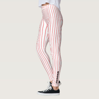 Jogger Leggings red pinstripe