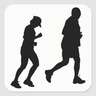 Jogging Silhouette Square Sticker