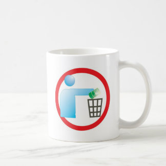 jogue lixo no lixo sinal ilustração informativa coffee mug