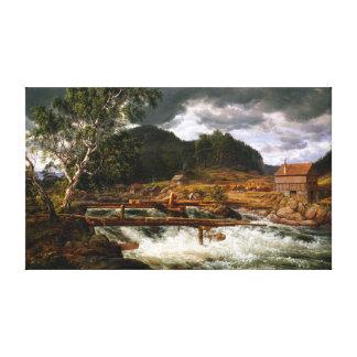 Johan Christian Dahl Hellefossen near Hokksund Canvas Print