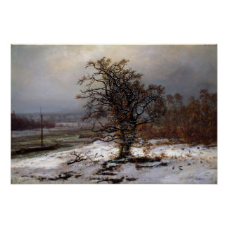 Johan Christian Dahl Oak Tree by the Elbe Winter Poster