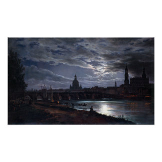 Johan Christian Dahl View of Dresden by Moonlight Poster