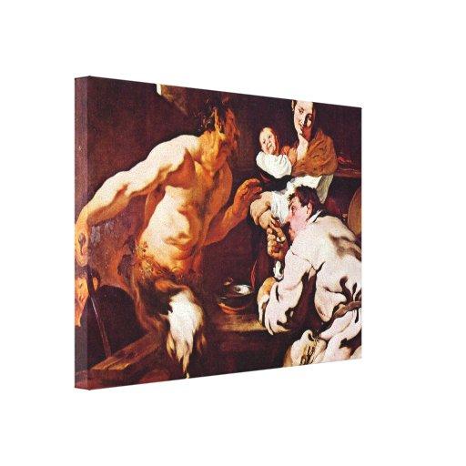 Johann Liss - Satyr with Peasants Canvas Prints