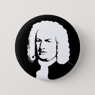 Johann Sebastian Bach abstractly in black and 2 Inch Round Button