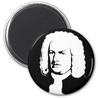 Johann Sebastian Bach abstractly in black and 2 Inch Round Magnet