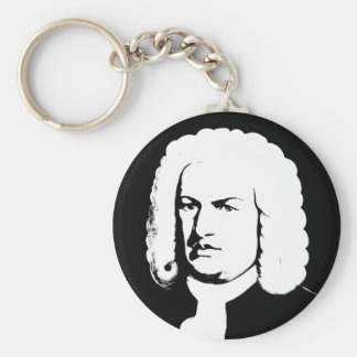 Johann Sebastian Bach abstractly in black and Basic Round Button Keychain