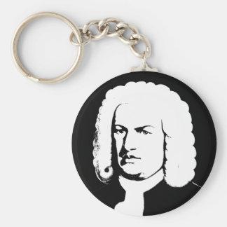 Johann Sebastian Bach abstractly in black and Keychain