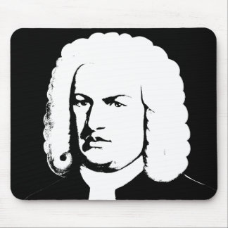 Johann Sebastian Bach abstractly in black and Mouse Pad