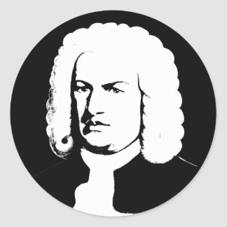 Johann Sebastian Bach abstractly in black and Round Sticker