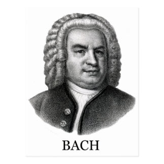 Johann Sebastian Bach, black Postcard