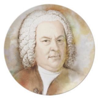 Johann Sebastian Bach in the water color style Party Plate