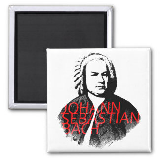 Johann Sebastian Bach portrait and red letters Square Magnet