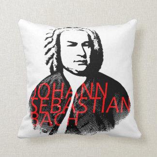 Johann Sebastian Bach portrait and red letters Throw Pillow