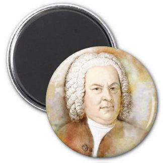 Johann Sebastian Bach portrait in beige 2 Inch Round Magnet