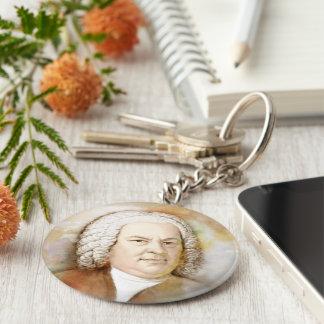 Johann Sebastian Bach portrait in beige Basic Round Button Keychain