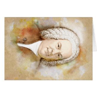 Johann Sebastian Bach portrait in beige Card