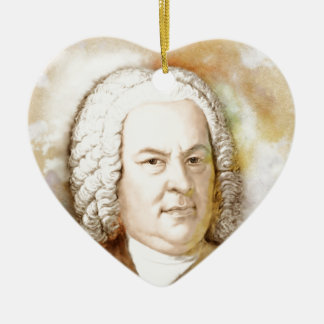 Johann Sebastian Bach portrait in beige Ceramic Heart Ornament