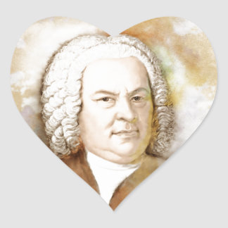 Johann Sebastian Bach portrait in beige Heart Sticker