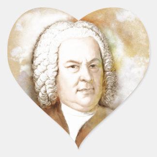 Johann Sebastian Bach portrait in beige Heart Sticker