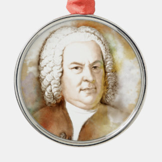 Johann Sebastian Bach portrait in beige Silver-Colored Round Ornament